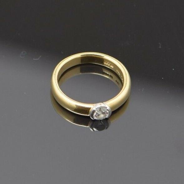 Tiffany & Co. 18k Yellow Gold & .950 Platinum 5 mm. Diamond Ring, Size 4.25