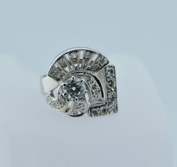 14K White Gold Diamond Cocktail Ring in Art Deco Motif Circa 1950, size 4.5