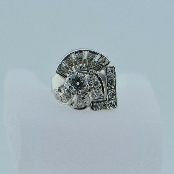 14K White Gold Diamond Cocktail Ring in Art Deco Motif Circa 1950, size 4.5