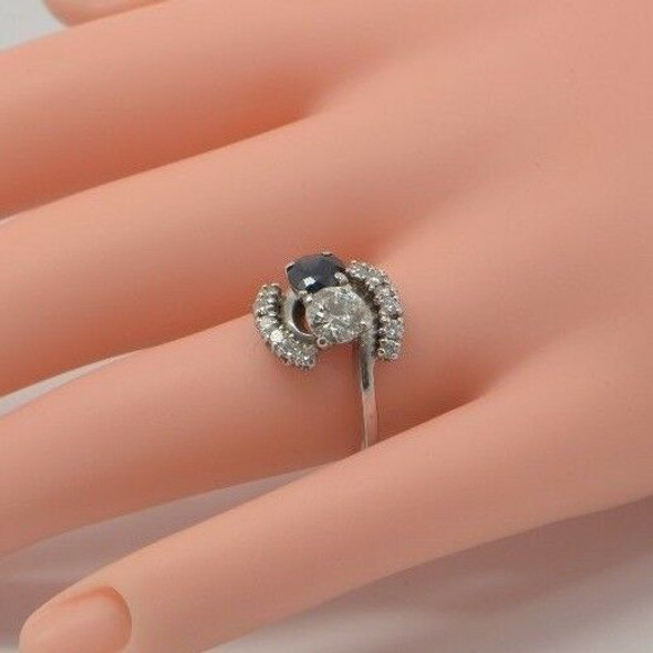 14K White Gold Diamond and Sapphire Ring Circa 1950, Size 7