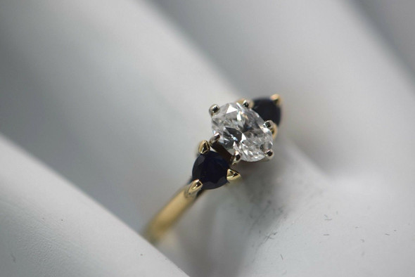 14K Yellow and White Gold Oval Diamond and Sapphire Ring, size 6