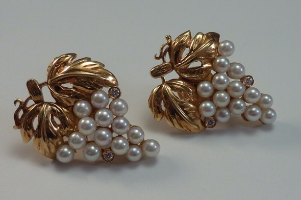 18K Yellow Gold Pearl and Diamond Grape Leaf Earrings