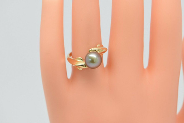 14K Yellow Gold 8.5 mm. Tahitian Pearl Ring w/Bypass Dolphin Figure, Size 7