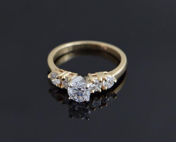 14K Yellow Gold Diamond Engagement Ring, Size 7.25