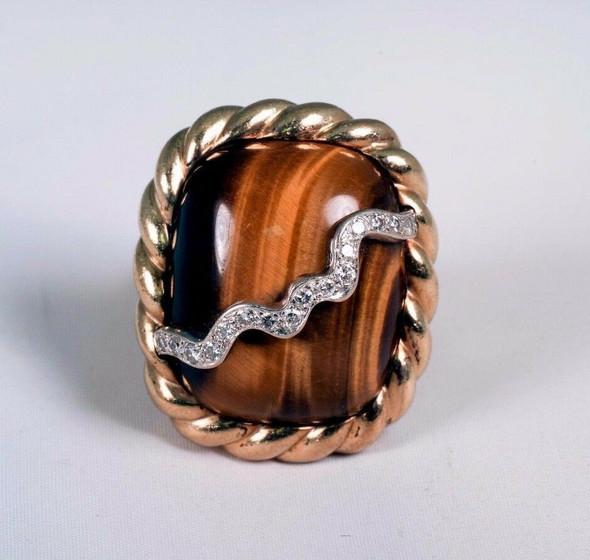 1970's Massive 14K Yellow Gold Tiger Eye Ring with Diamond Swirl, Size 6