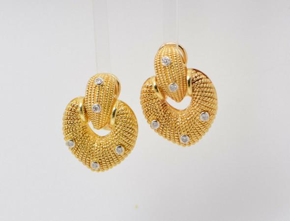 18K Yellow Gold Large Superb Heart Shaped Diamond Earrings