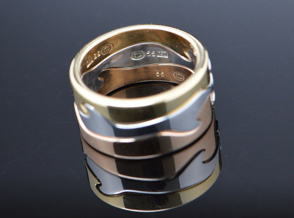 18K Tri-Colored Gold Georg Jensen Fusion Puzzle Ring, Size 8