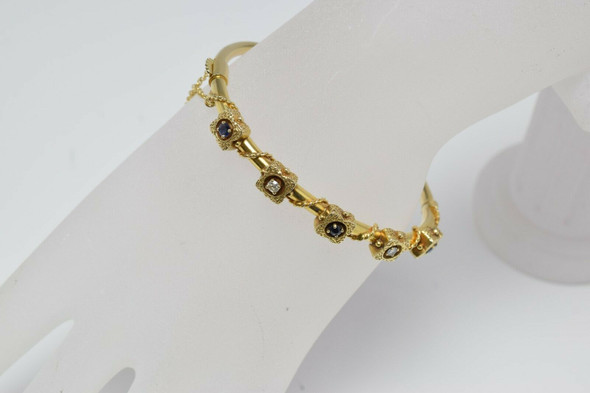 Antique 14K Yellow Gold Diamond and Sapphire Hinged Bangle Circa 1920