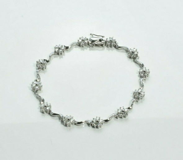 14K White Gold Diamond Rosette Bracelet 2 ct tw Circa 1990