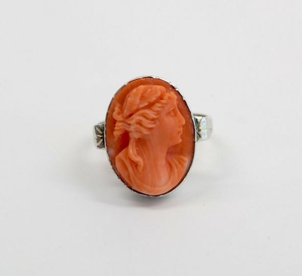 14K White Gold Orange Red Coral cameo Ring Circa 1930, Size 6.75