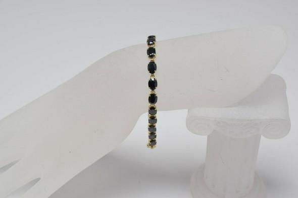 10K YG Dark Oval Sapphire Bracelet with 20 Stones Circa 1980