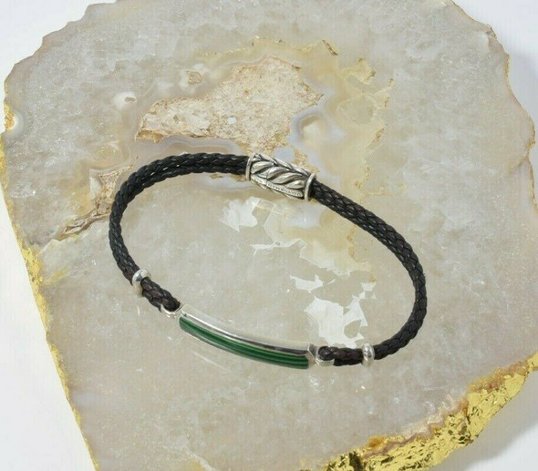 David Yurman Sterling Silver Malachite and Leather Bracelet Circa 1990