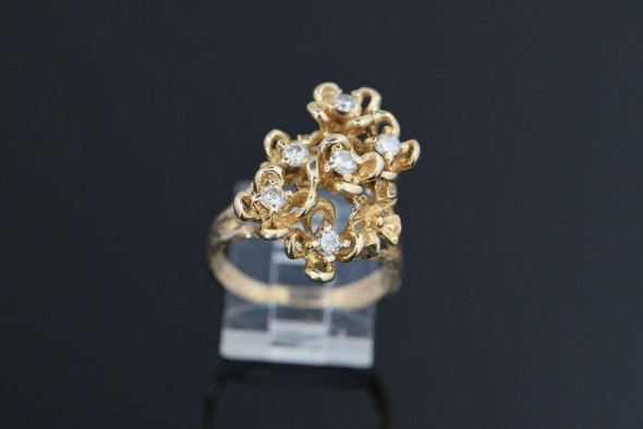 14K Yellow Gold Brutalist Large Floral Diamond Cocktail Ring 1970's , Size 8.75