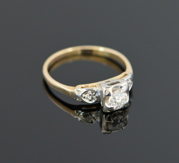 14K Yellow Gold Vintage Engagement Ring with .50 ct. Center Circa 1940, Size 6.5