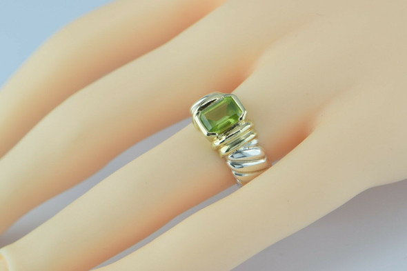 David Yurman 14K and Sterling Peridot Ring Size 5