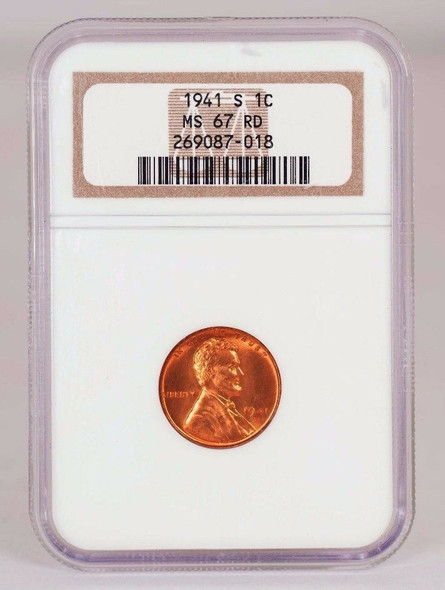 1941-S Lincoln Cent Graded MS 67 Red by NGC