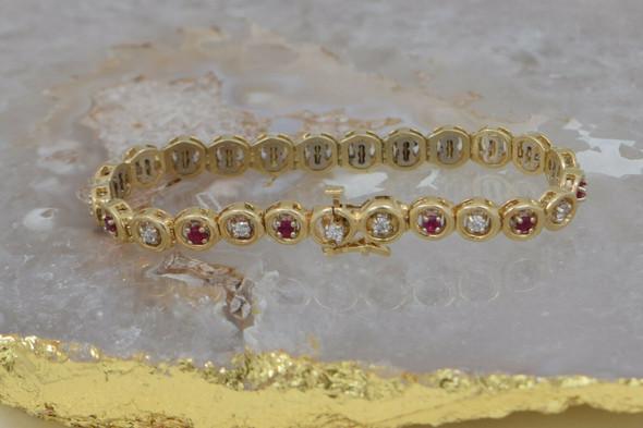 "14K Yellow Gold 3ct tw. Ruby and Diamond Bracelet 7"" length Circa 1980"