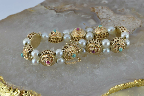 """Vintage 14K Yellow Gold Pearl Ruby Turquoise Bracelet 6.75"""" Length Circa 1950"""