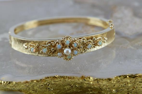 14K Yellow Gold Opal and Pearl Hinged Bangle Bracelet Circa 1950