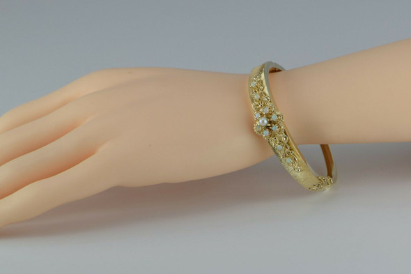 14K Yellow Gold Opal and Pearl Hinged Bangle Bracelet Circa 1950