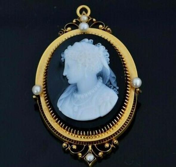 14K Yellow Gold Black & White Pin Pendant Agate Cameo Pearl Set Circa 1880