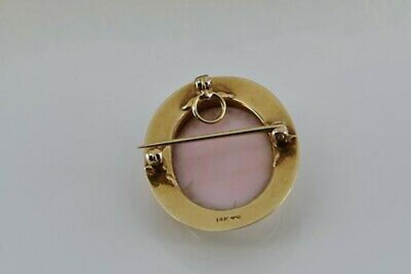 Vintage 14K Yellow Gold Cameo Shell Pin Pendant Circa 1950