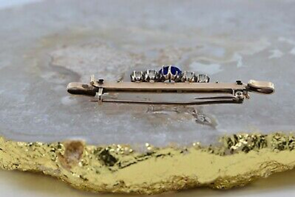 Antique 14K Yellow Gold Victorian Faux Jewels Pin Eastlake Stones Circa 1890