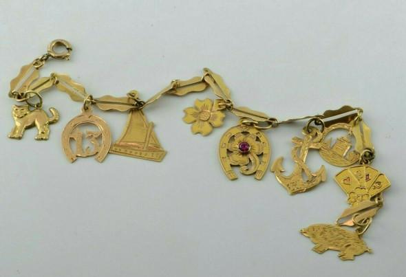 "Vintage 18K YG Handmade Maritime & Luck Charm Bracelet 8.5"" length Circa 1950"