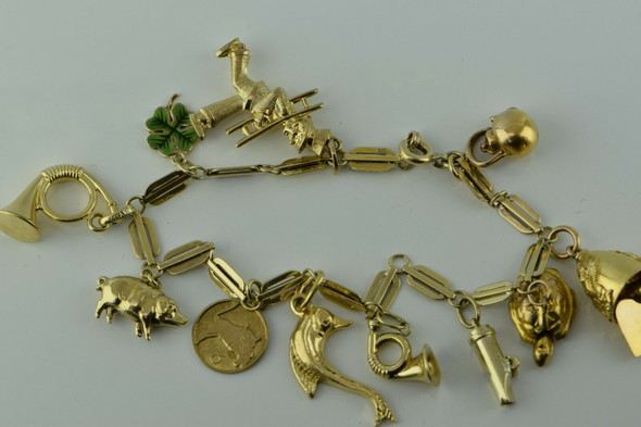 "Vintage 14K Yellow Gold Charm Bracelet with 9K 14K & 18K charms 7.5"" length"