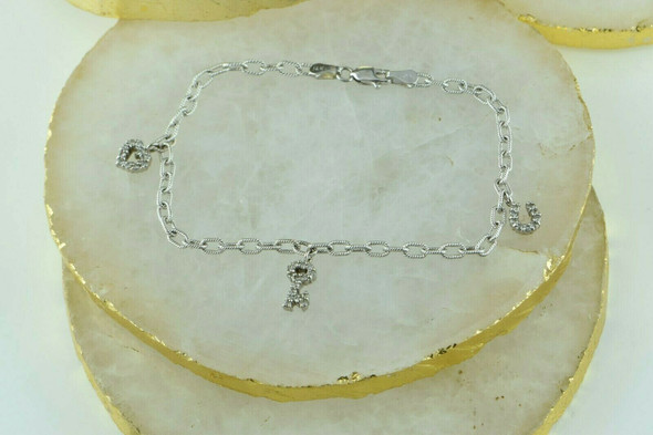 "14K White Gold Diamond Charm Bracelet 7.5"" length Circa 1990"