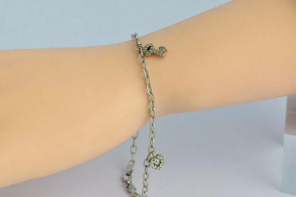 "14K White Gold Diamond Charm Bracelet 7.5"" length Circa 1990"