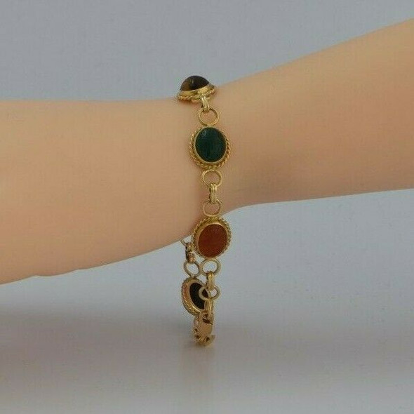 "14K Yellow Gold Scarab Bracelet by Carla 7.25"" length Circa 1970"