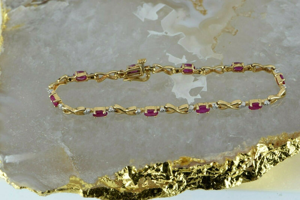 "10K Yellow Gold Ruby & Diamond Tennis Bracelet 7"" length Circa 1980"