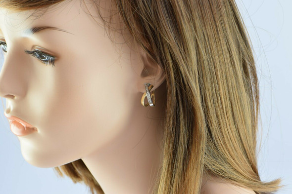 14K Yellow and White Gold Diamond Hoop Earrings