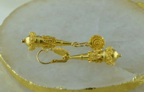 18K Yellow gold Etruscan Style Dangle Earrings