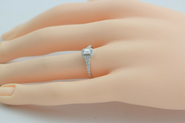14K White Gold Diamond Engagement Ring Emerald Cut Size 7