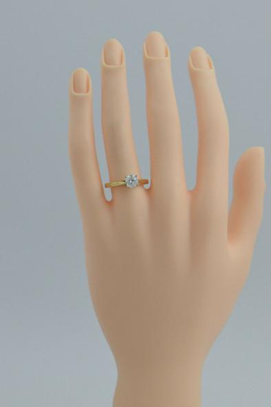14K Yellow Gold Diamond Solitaire Ring .86ct Round Center Size 7 Circa 1990