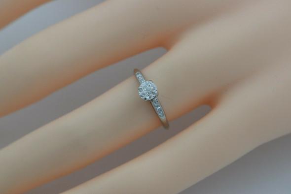 Vintage 14K WG Diamond Engagement Ring Old Mine Cut Center Size 5.25 Circa 1940