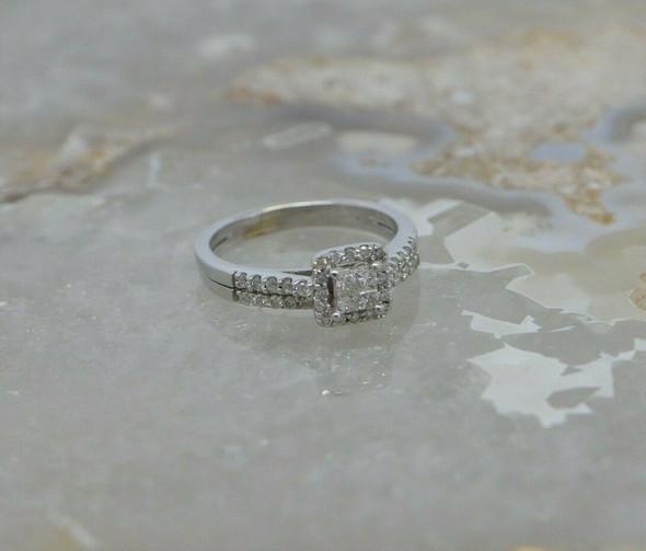 14K WG Diamond Engagement Parquet Ring Princess Center Size 7.75 Circa 1990