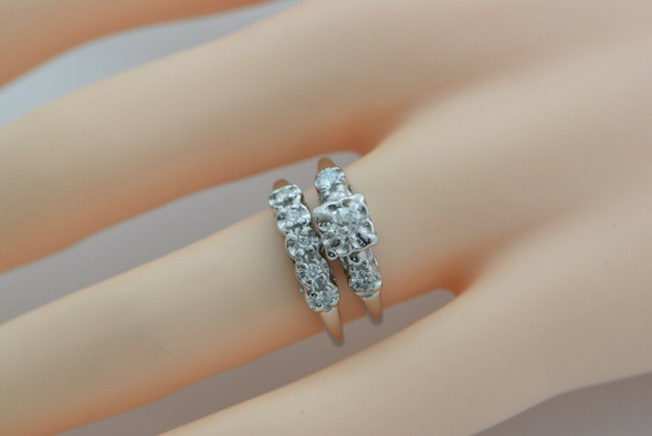 Vintage 14K WG Wedding Engagement Ring Set 1/2ct tw H SI1 Size 6.75 Crica 1950