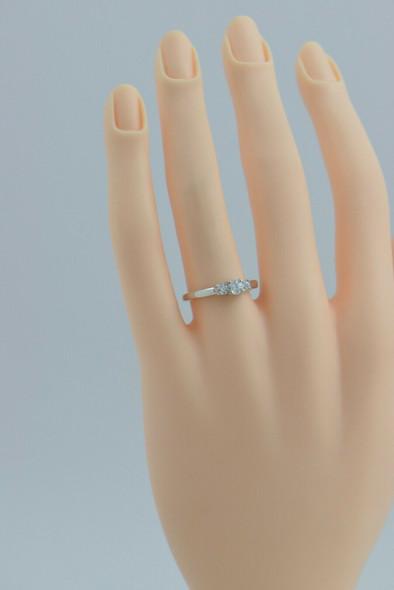 14K WG 3 Stone Diamond Ring with Platinum Head 1/2 ct tw Size 7