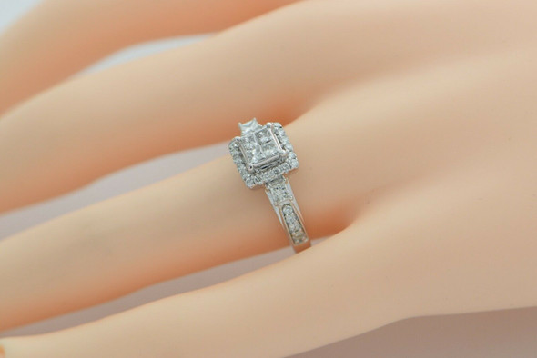 10K White Gold Diamond Pave Ring 3/4 ct tw HSI Size 6.5 Circa 1990