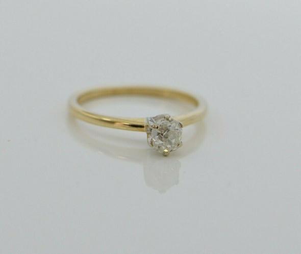 14K YG Diamond Ring 1/2ct Old Mine Cut Oval Cushion Size 6.25 Setting Circa 1960