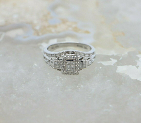 10K White Gold Diamond Pave Ring, H SI 1 Size 6.75 Circa 1990