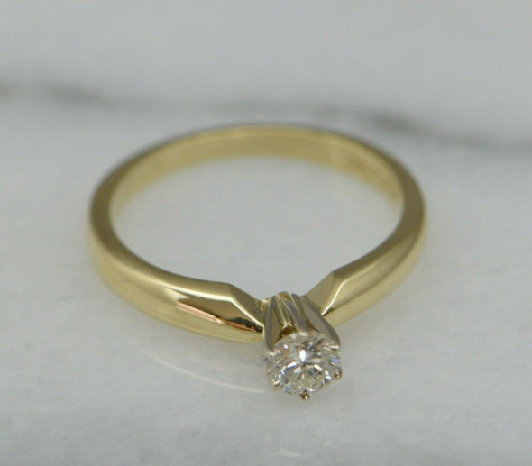 10K YG Diamond Solitaire Ring Round 1/3 ct Center Size 6.5 Circa 1970