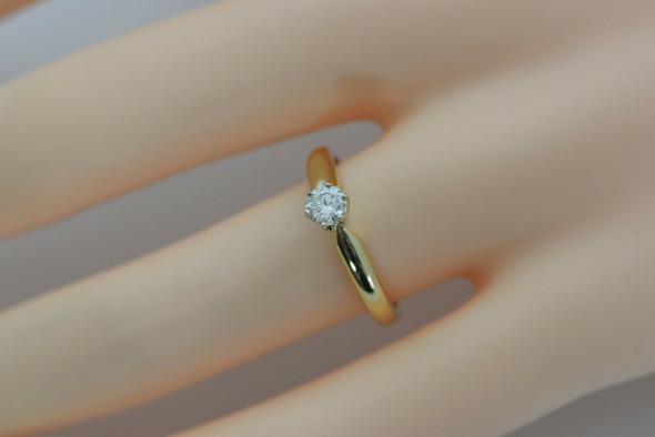 10K YG Diamond Solitaire Ring Round 1/3 ct Center Size 6.5 Circa 1970