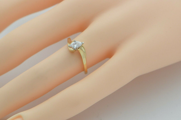 14K YG Diamond Marquise Ring, 1/3 ct HSI 1Size 5.25 Circa 1980
