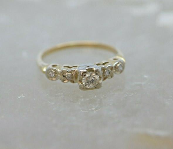 14K Yellow Gold Diamond Engagement Ring .20ct Center Size 4.5 Circa 1940