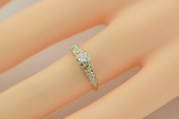 14K Yellow Gold Diamond Engagement Ring .20ct Center Size 4.5 Circa 1940