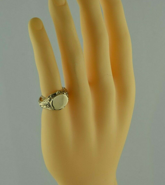 14K YG Signet Ring w/ Floral Decoration Victorian Style Heavy Weight size 9